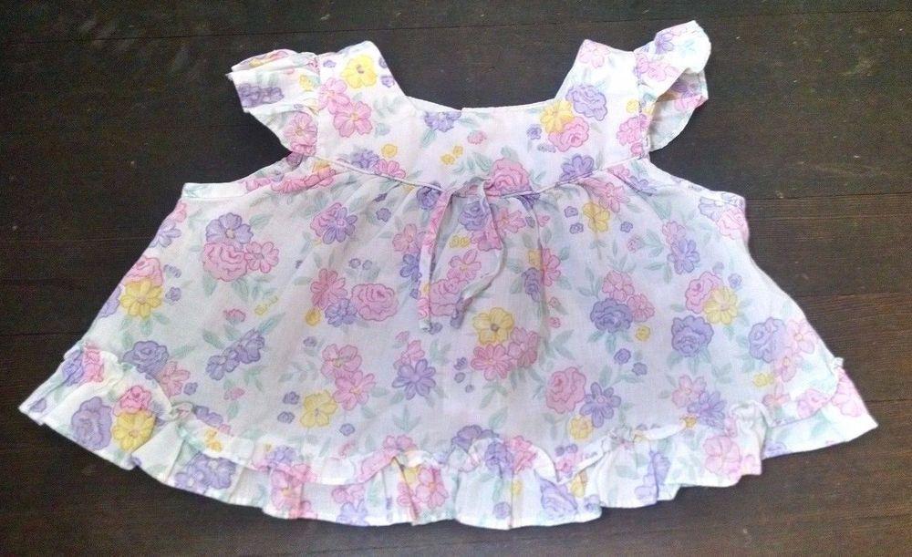 Vtg Babyfair Baby Girl Top 18M White Pink Purple Flowers Flutter Sleeves Summer #Babyfair #Everyday