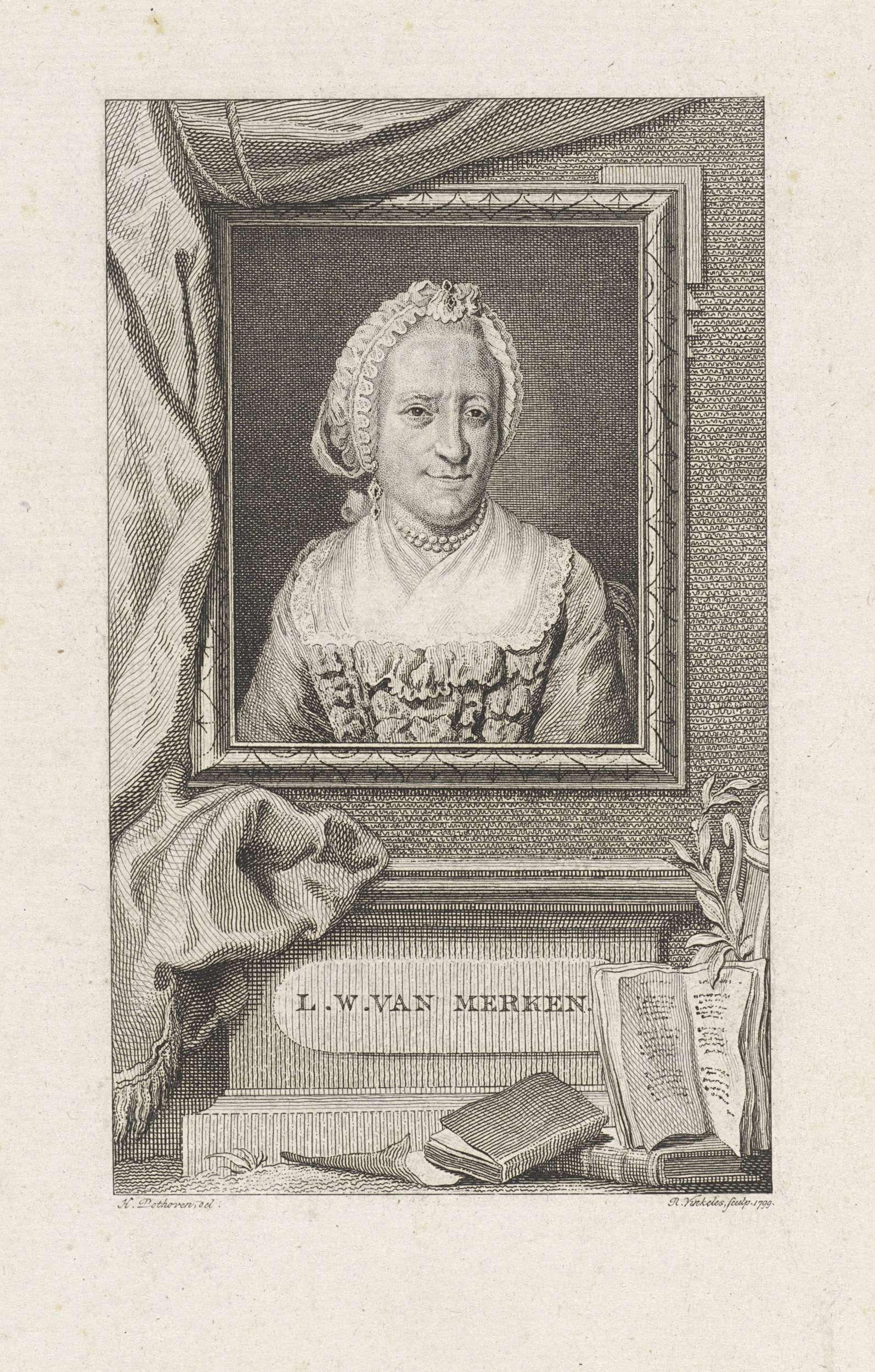 Reinier Vinkeles | Portret van Lucretia Wilhelmina van Merken, Reinier Vinkeles, 1799 | Portret van de Nederlandse dichteres Lucretia Wilhelmina van Merken.