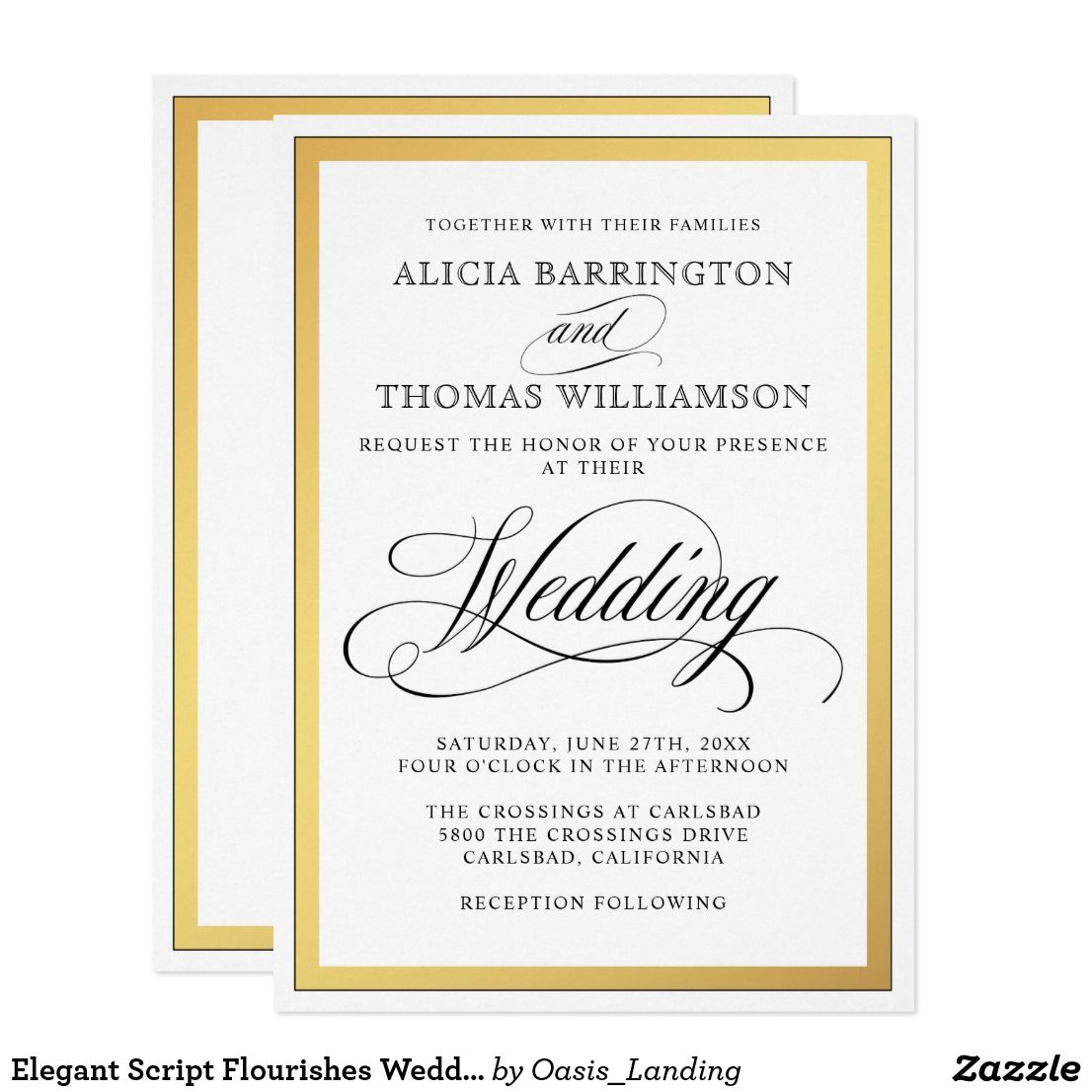 Elegant Script Flourishes Wedding Card A Beautifully Elegant