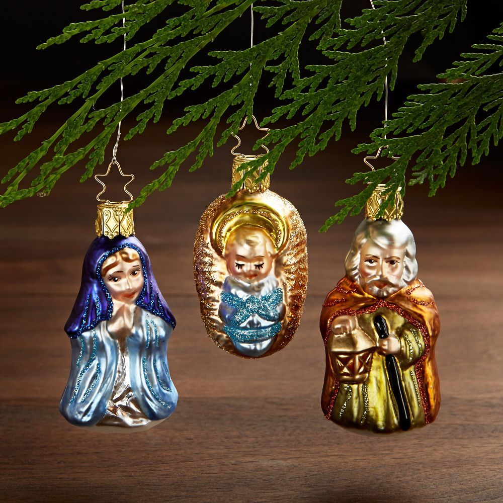 Holy Family With Angel Hair Glass Ornament: German Glass Holy Family Ornaments - Set Of 3