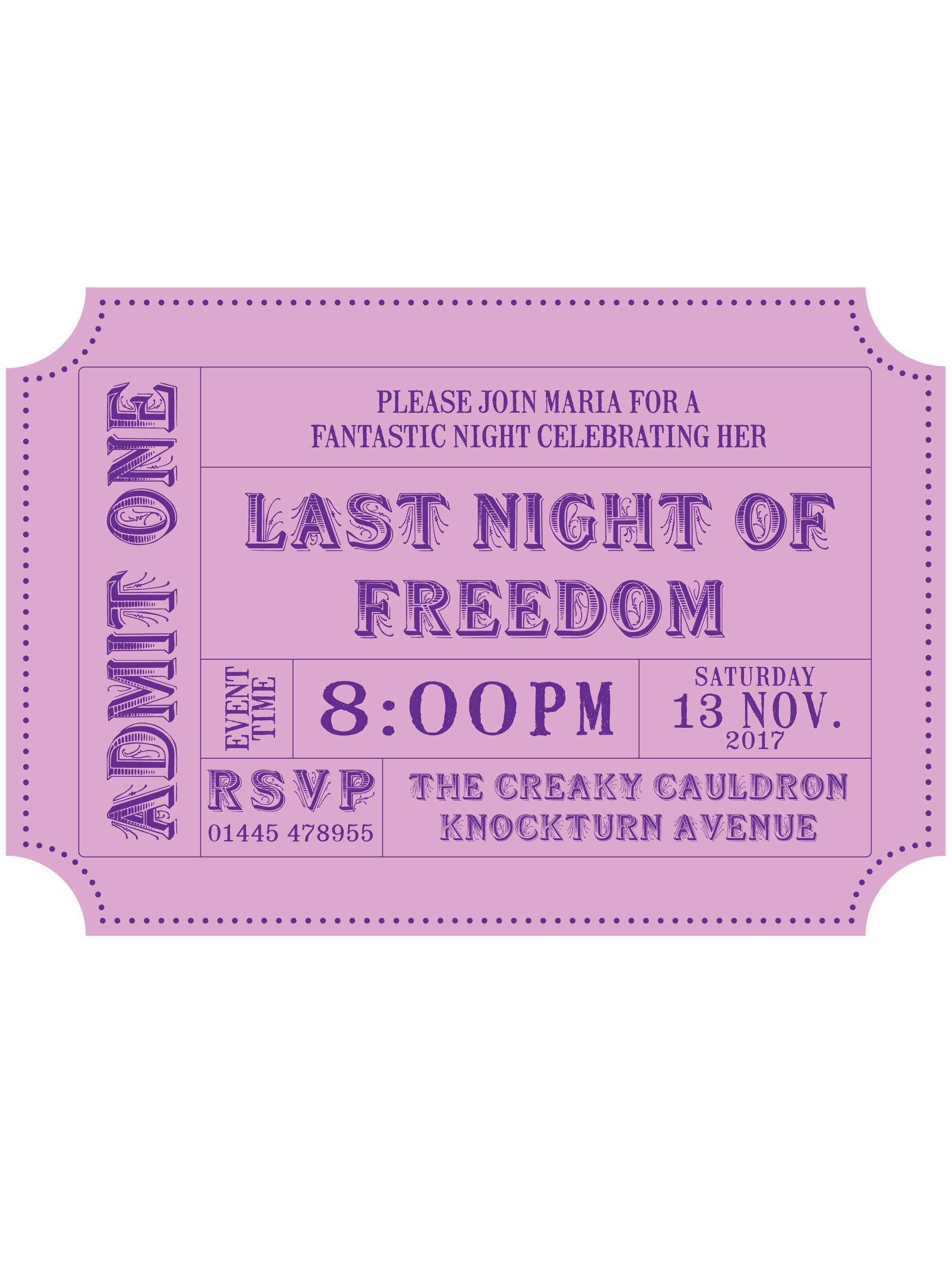 Hen Party Invitation PDF Ticket Style | Hen do | Pinterest | Hens ...
