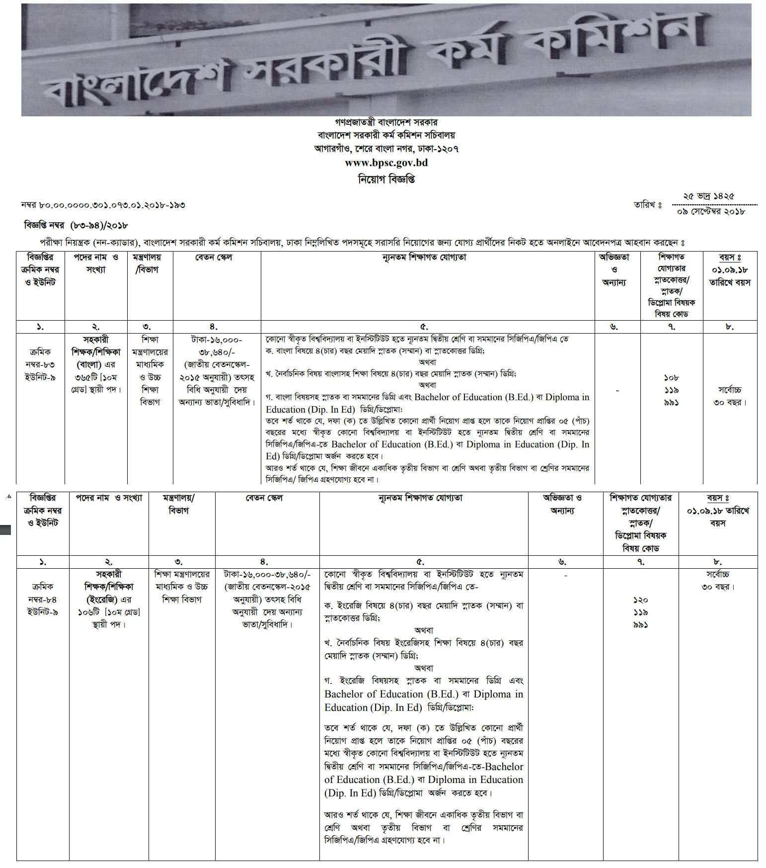 BPSC Job Circular Application Form 2018 - www bpsc gov bd