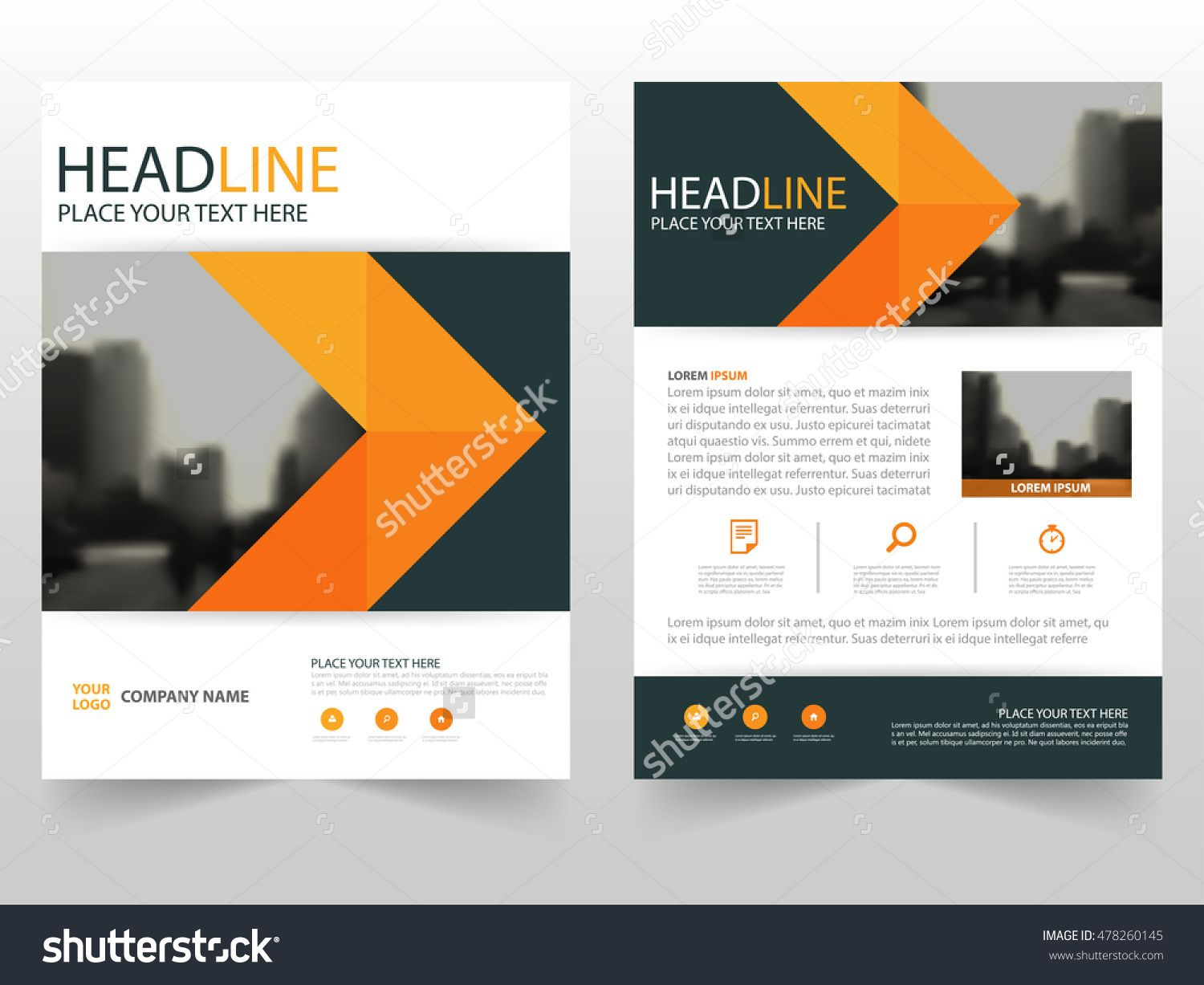 abstract orange trifold brochure design business template.html