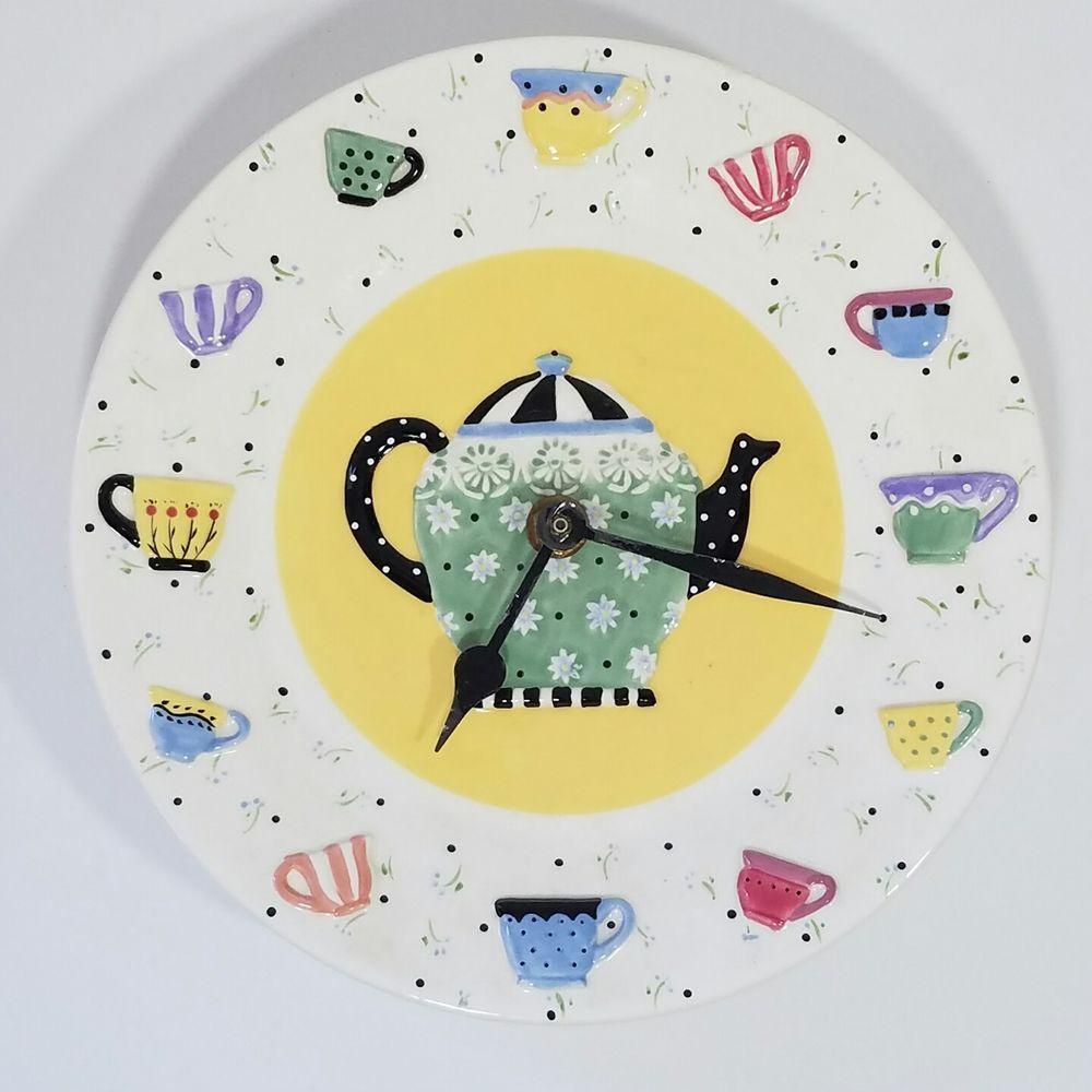 Mary Engelbreit Wall Clock Teapot Tea Cups Kitchen Plate Clock 1998 ...