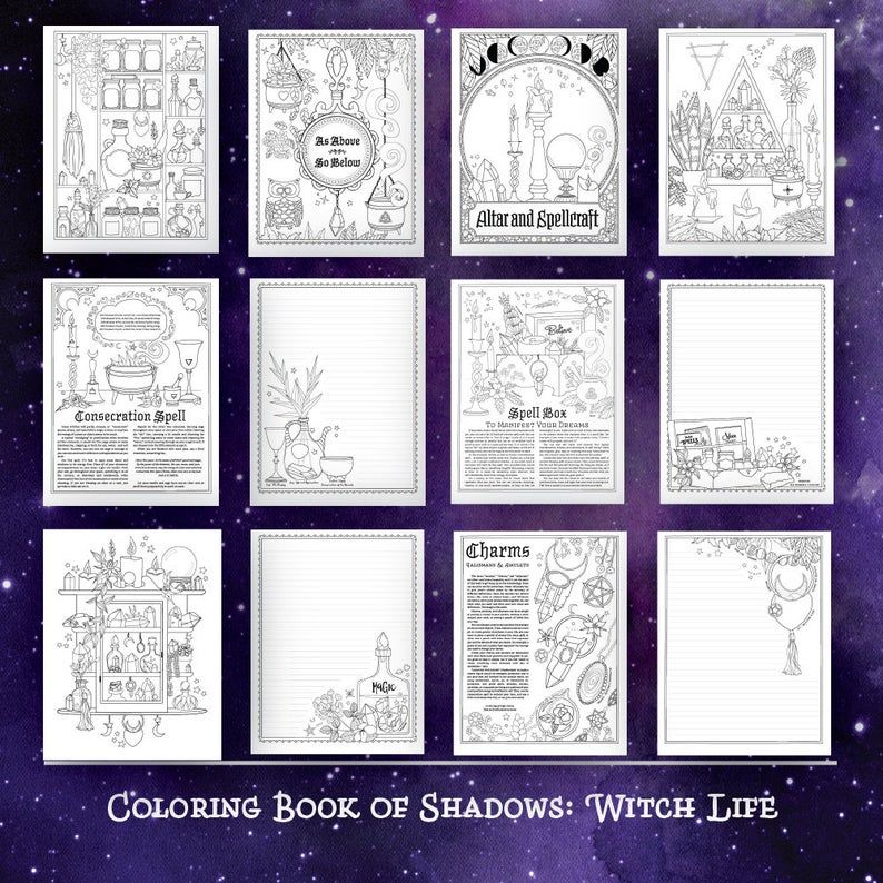 Coloring Book Of Shadows Witch Life Etsy In 2021 Book Of Shadows Coloring Books Spellcraft