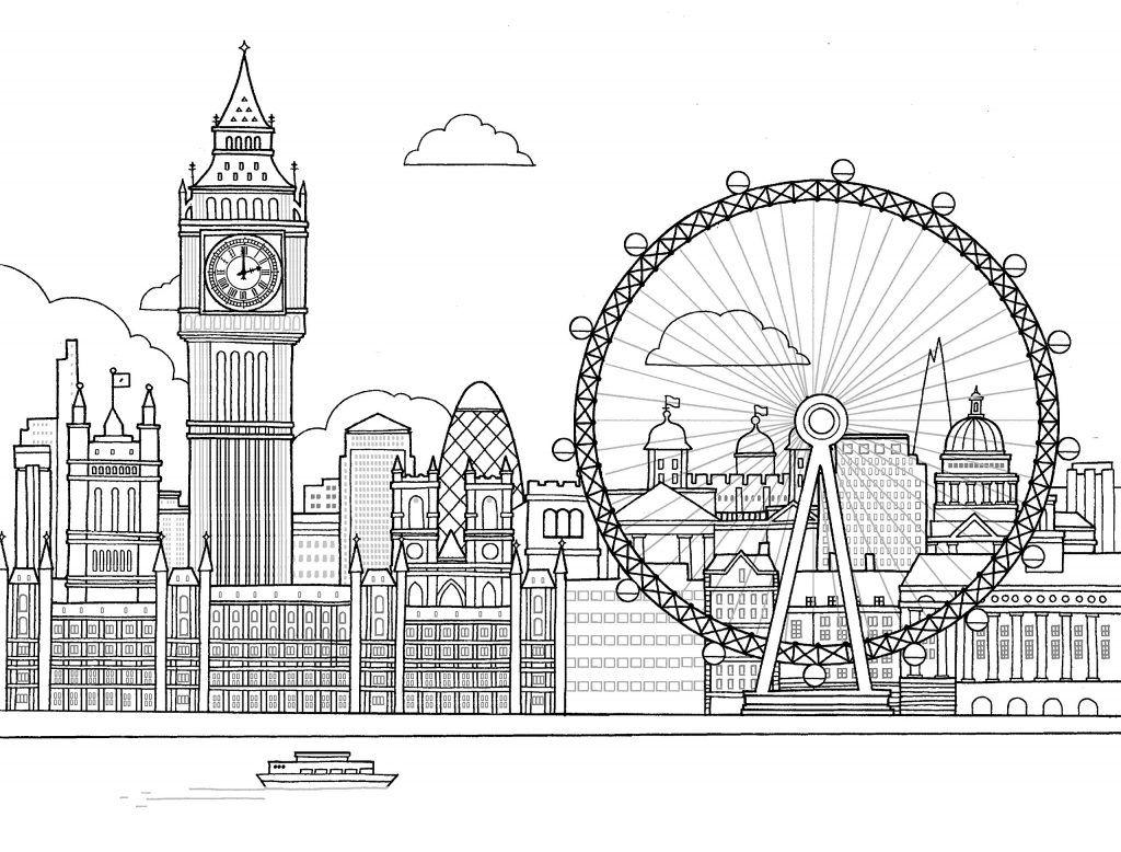 Лондон - Города | Лондонский глаз, Рисунки для ...