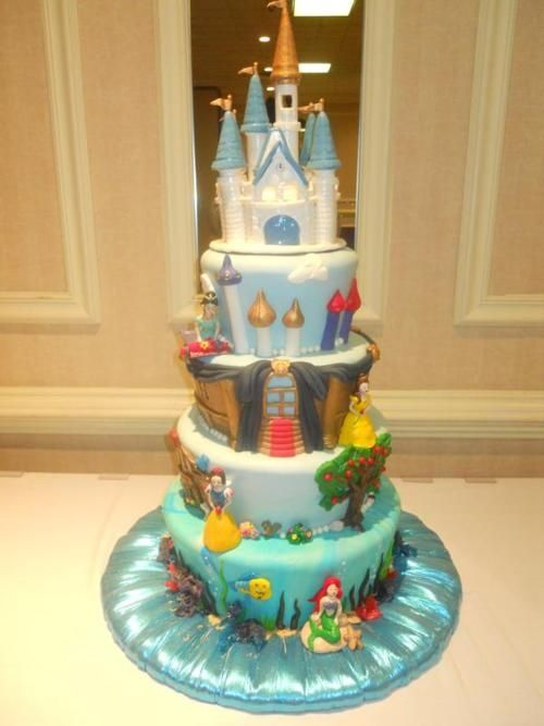 Disney Princess cake each level is a different princess Baked