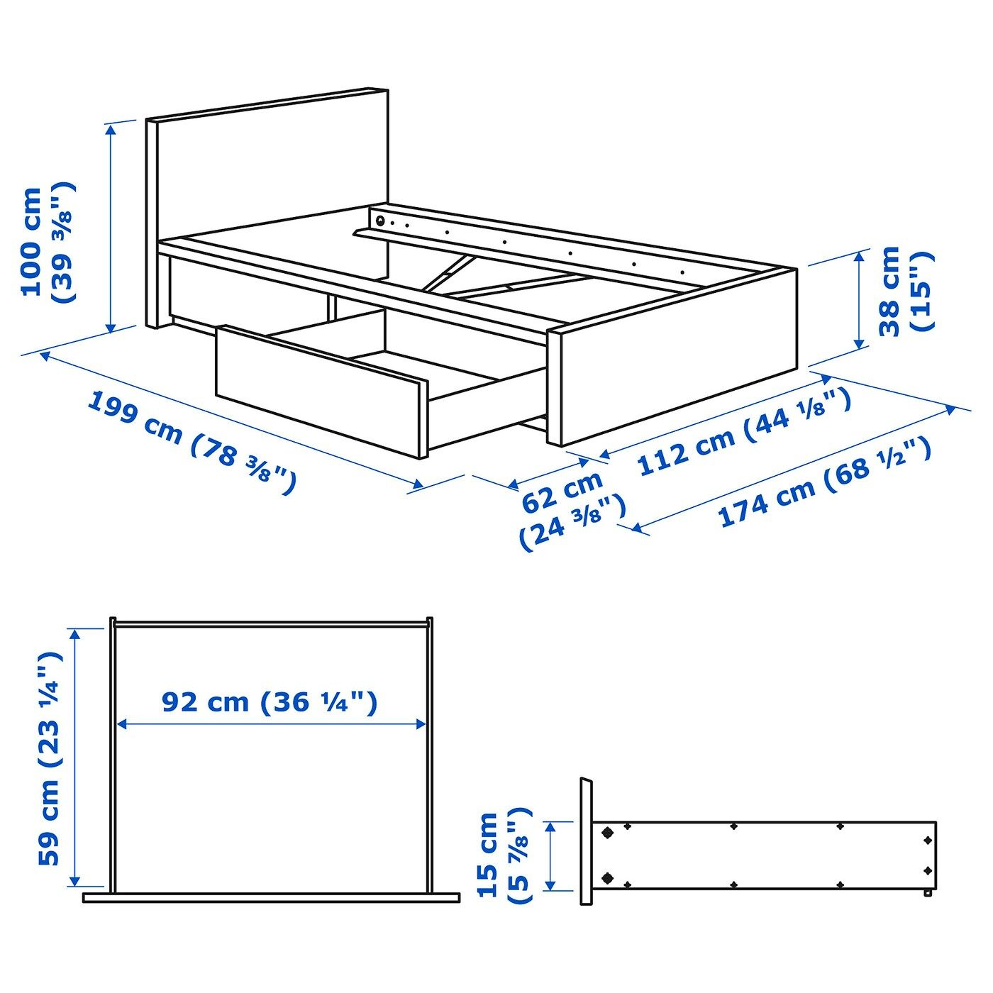 Malm High Bed Frame 2 Storage Boxes White Twin Ikea