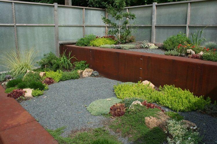 jardín moderno con gradas de Corten jardin japones Pinterest - jardines zen