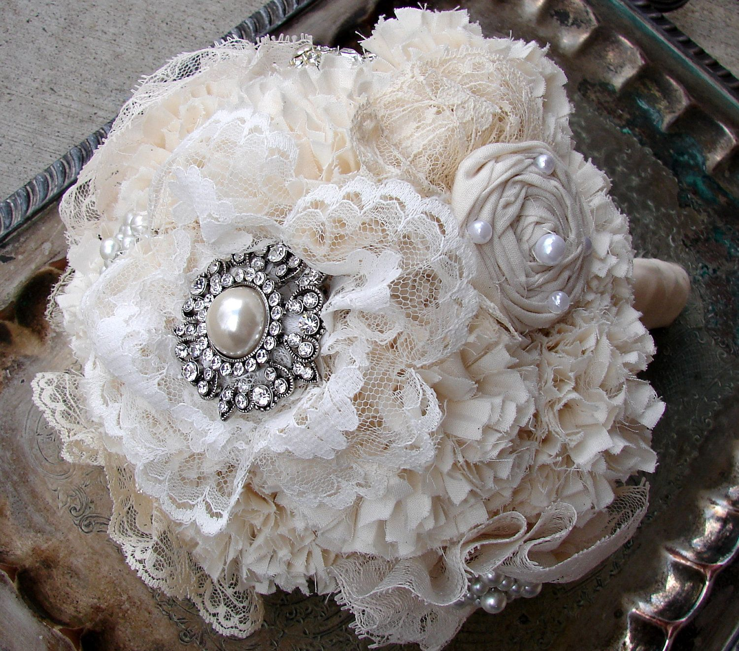 Fabric Flower Bouquet With Rhinestone Brooches And Lace Weddings