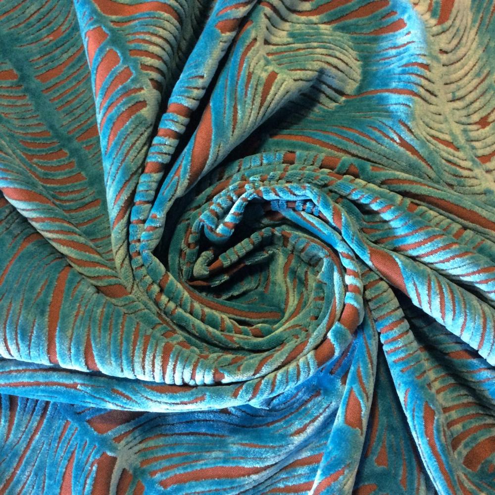 Peacock Plume Luxurious Cut Velvet Turquoise Blue Heavy Velvet Upholstery Fabric LHD151-A #velvetupholsteryfabric