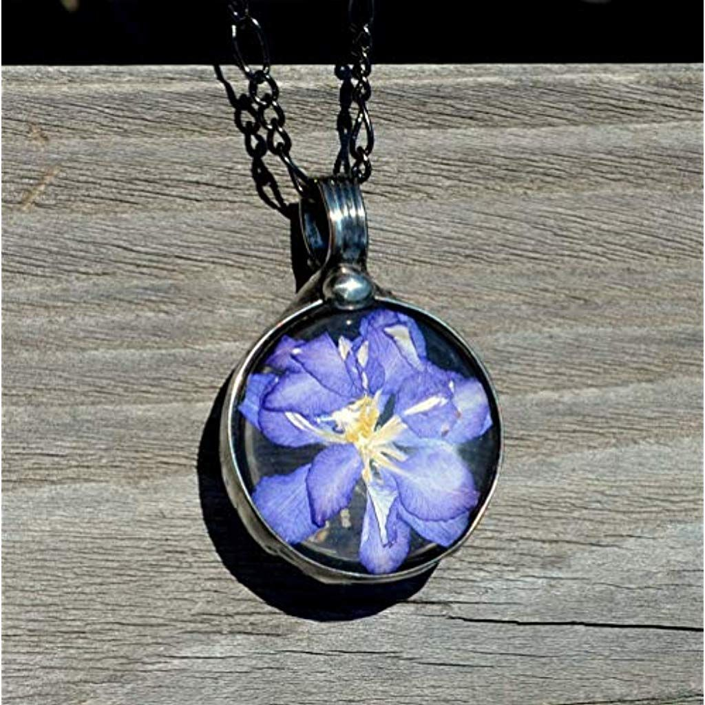 Pressed Flower Necklace Handmade Jewelry for Women July
