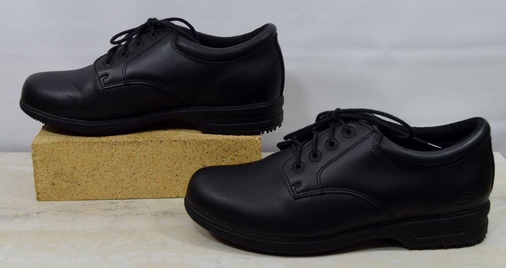Skechers Work 76503 Black Leather Slip Resistant Shoes Women s Size 9 M   SkechersWork  Sneakers 3f1a7402d4