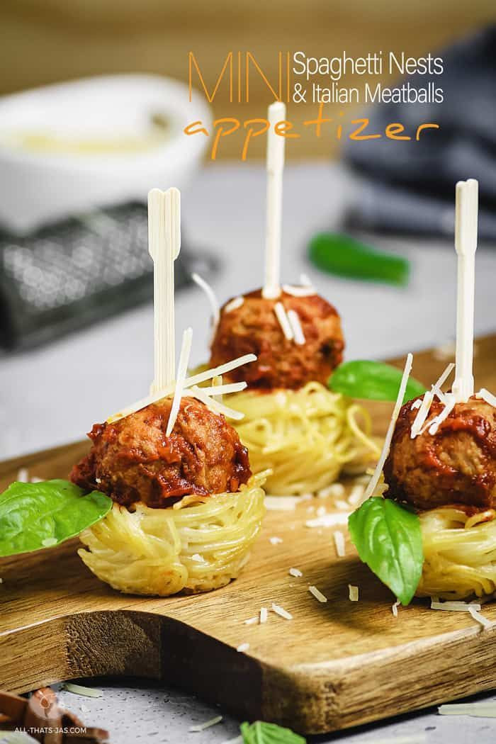 Mini Spaghetti Nests and Italian Meatballs Appetizer  All thats Jas These Mini Spaghetti Nests and Italian Meatballs is a must have party appetizer Made with creamy Alfre...