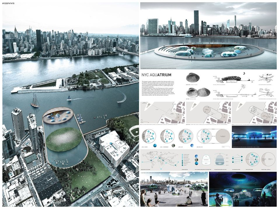 Current Architects nyc waterfront competition winners | arc 605 plans and sections