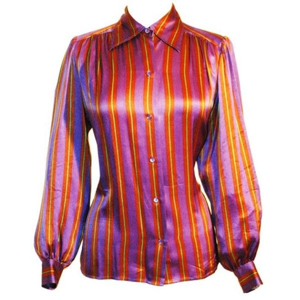 25ec66fc8dfbf Preowned Vintage Yves Saint Laurent Rive Gauche Stripe Silk Blouse (€465) ❤  liked on Polyvore featuring tops