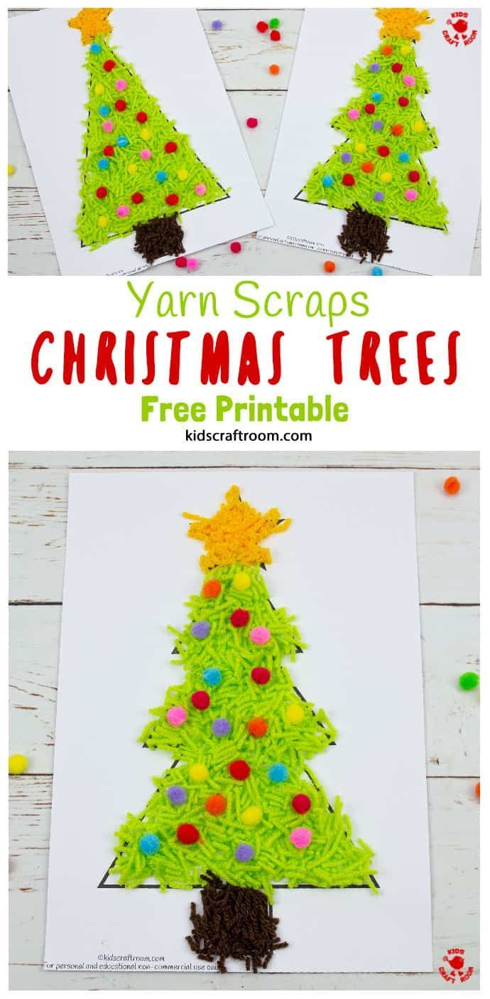 Scrap Yarn Christmas Tree Craft Christmas Tree Template Christmas Crafts For Kids Christmas Tree Art