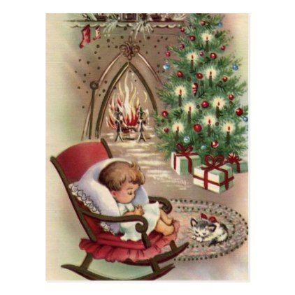 Vintage Christmas Sleeping Child Postcard - Xmas ChristmasEve