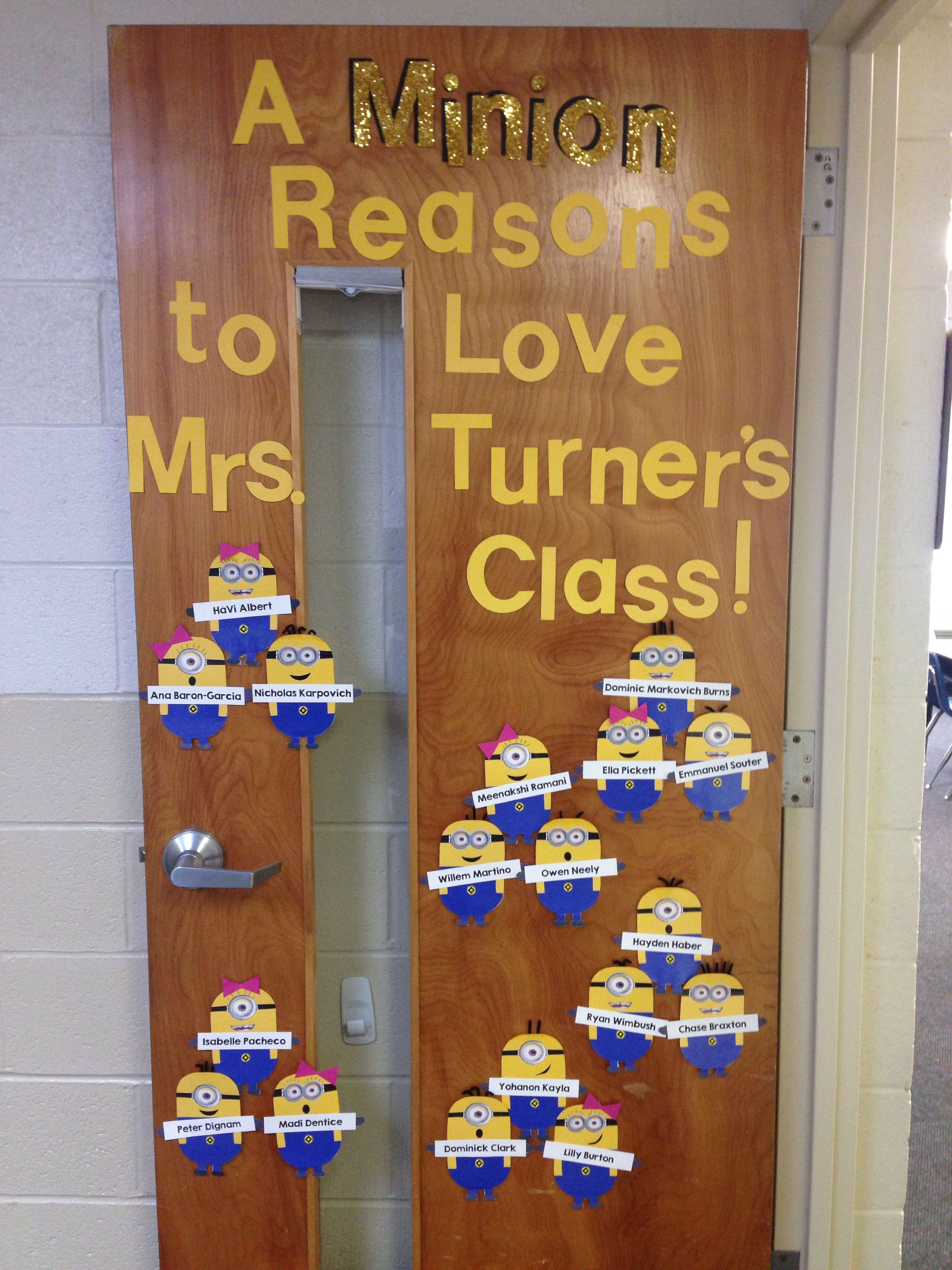 Classroom Decoration Ideas Fort Worth ~ Beginning of the year door decoration these minions were