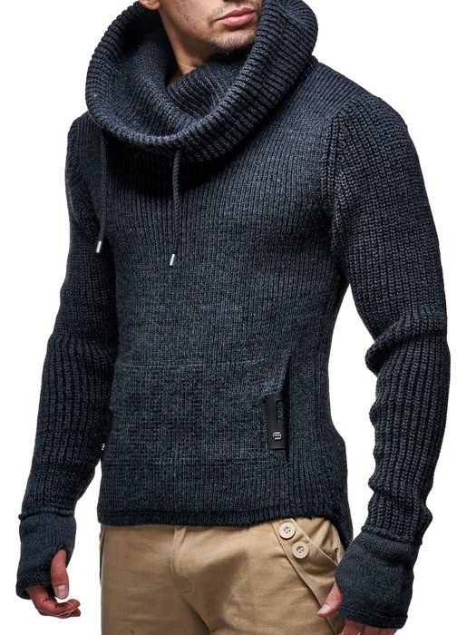 Leif Nelson Herren Strickpullover Ln5060 Grs E S Anthrazit Mens Outfits Smart Casual Menswear Casual Knitted Sweater