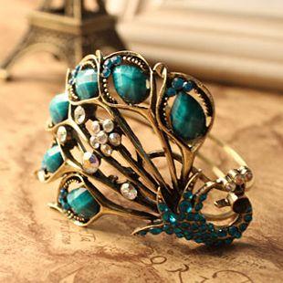 280 Blue Vintage Peacock&Gem Bangle Bracelet