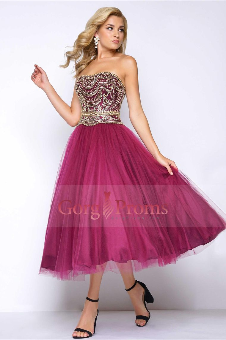 tealength prom dresses strapless tulle with beading a line