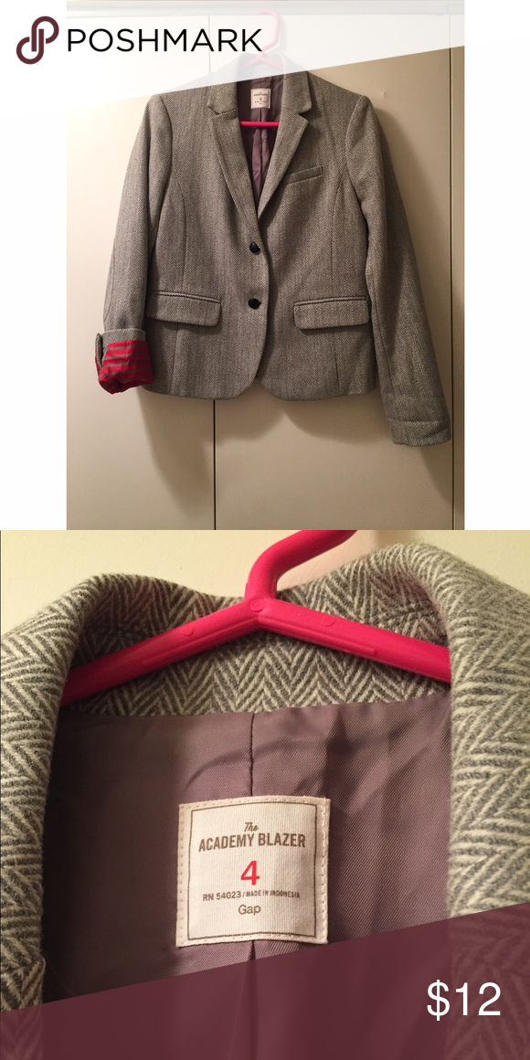 Gap grey herringbone blazer - size 4 The best parts about this blazer are the elbow patches (same herringbone pattern) and grey and red stripe detail when you roll up the sleeves! The collar also has red wool underneath. GAP Jackets & Coats Blazers