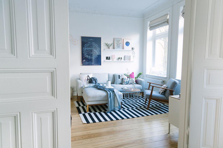 Wohnzimmer Blau Kupfer; Altbau Einrichten