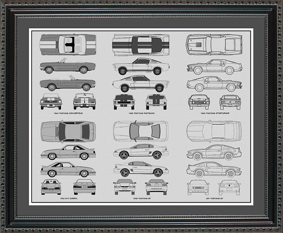 Ford Mustang Blueprint Collection Drawing Art by ConceptProducts