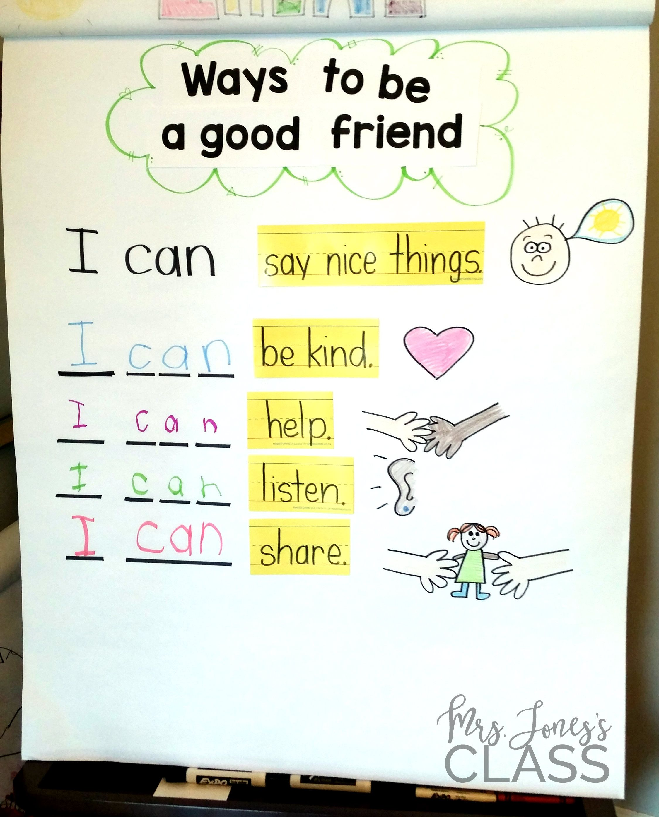Ways To Be A Good Friend Anchor Chart This Unit Is