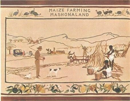THE BORDER Upper: Guinea fowl; game birds which frequent maize lands. Lower: Citrus fruits grown in the Mazoe valley where maize is widely cultivated. Embroidered by the Mazoe Women's Institute.