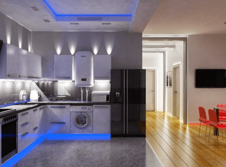 Classic And Simple Kitchen Lighting With Low Ceiling Kitchen Ceiling Design Kitchen Soffit Kitchen Lighting Fixtures Ceiling
