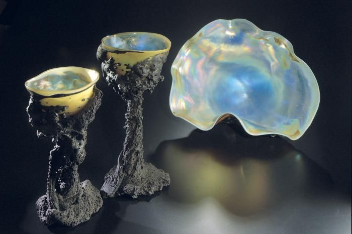 A pair of Tektite Goblets and an Iridescent Tektite Sculpture Josh Simpson