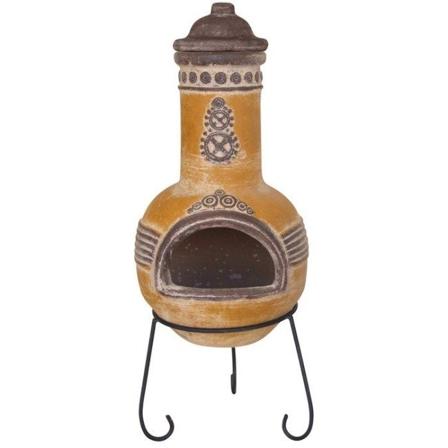 wood burning patio heater Azteca Mexican Clay Chimenea Patio Heater In 2019 Patio