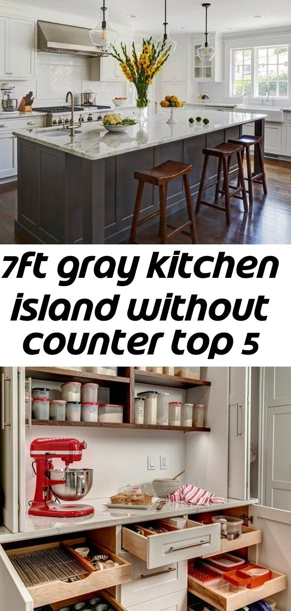 Fully Assembled Brand New Kitchen Island Without Countertop Has Three Cabinets Including One Center Trash Tray Grey Kitchen Island Grey Kitchen New Kitchen