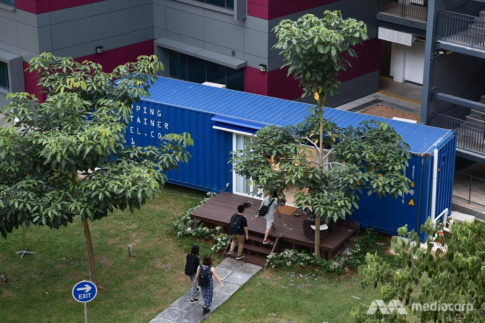 The containers of the Singapore Shipping Container Hotel
