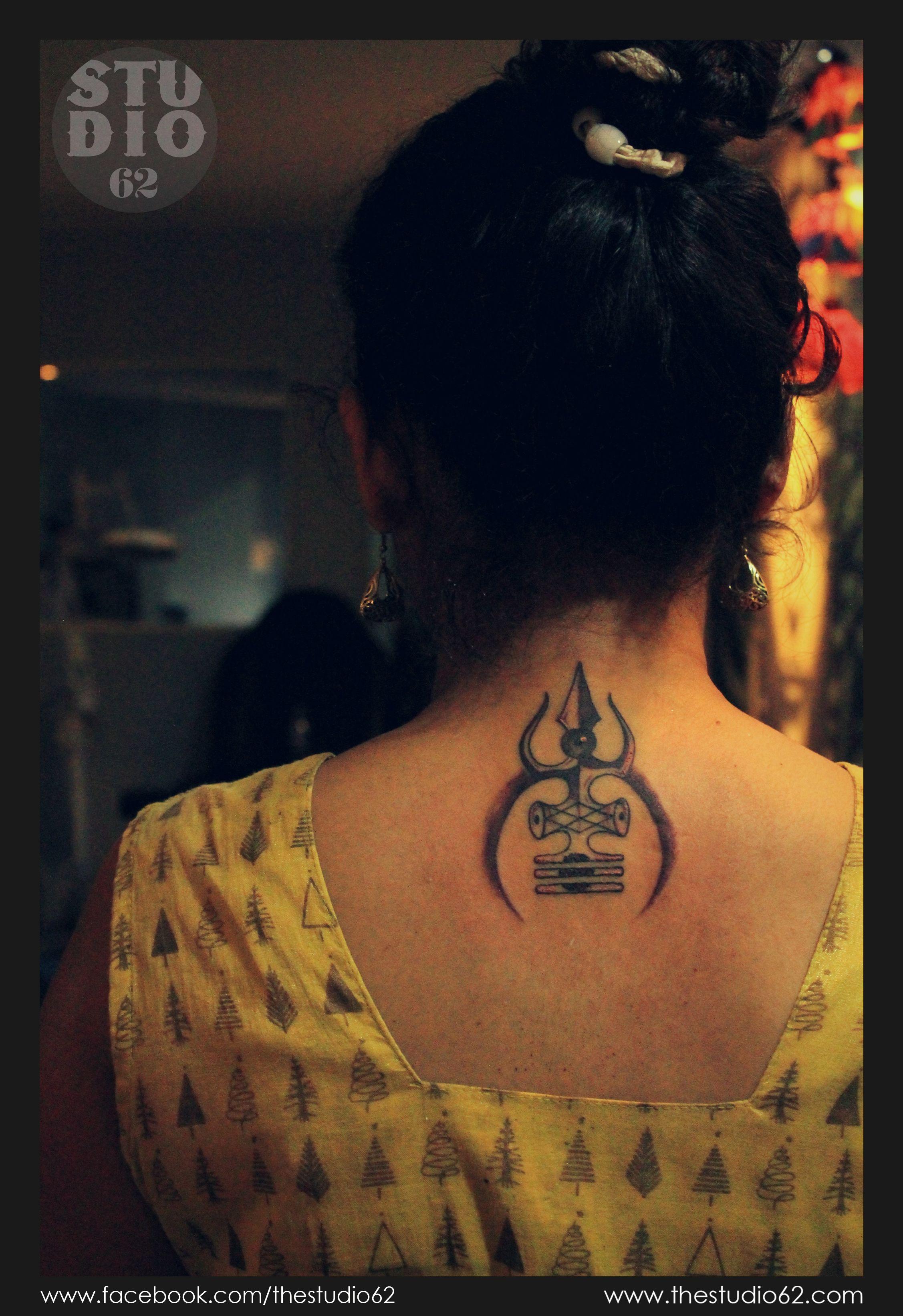 Trishul Wings Tattoo Trishul Shiva Tattoo Back Neck Neck Tattoo For Guys Back Of Neck Tattoo Neck Tattoo