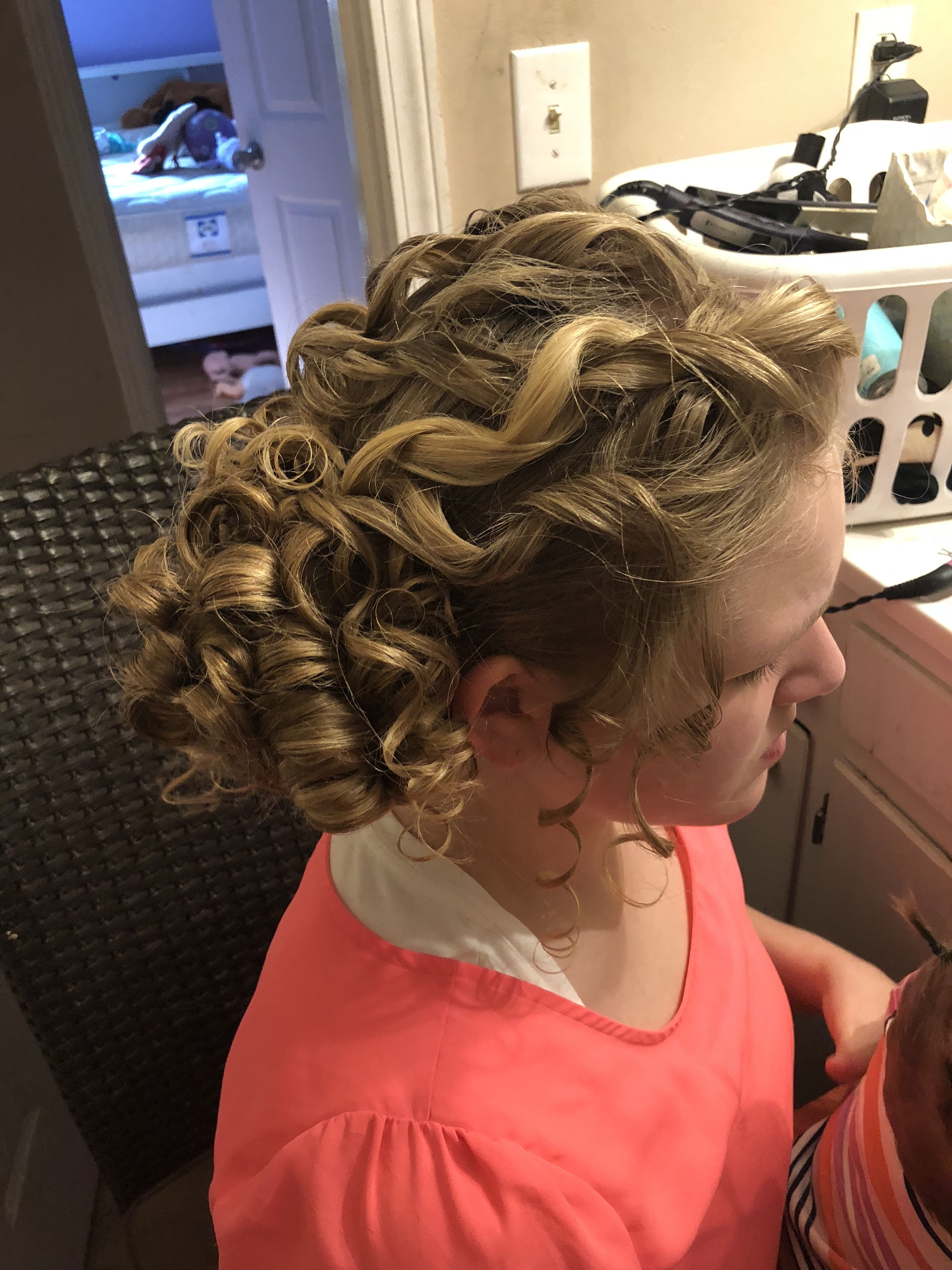 side view pentecostal curly hairstyle, pincurls, curls