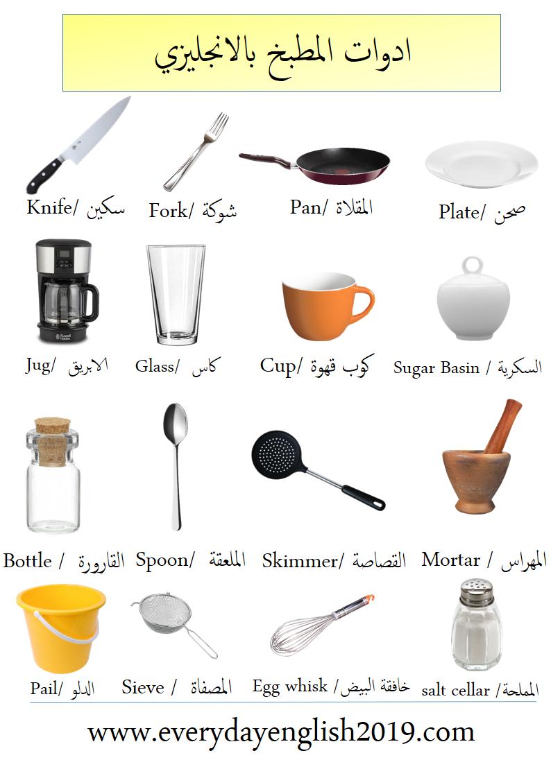 ادوات المطبخ بالانجليزي Egg Whisk Salt Cellar Plates