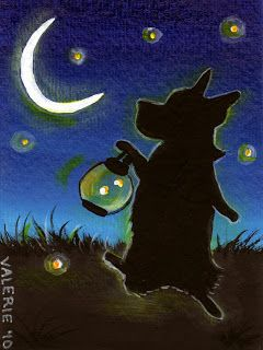 Silver Linings: Firefly Nights ~ Original Corgi Painting ~ By Valerie Brock Copyright 2010 Shaggycreations