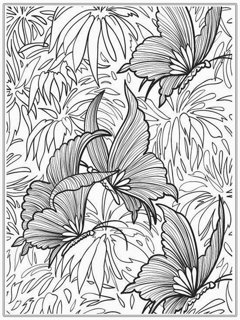 Free Butterfly Adult Coloring Pages 768x1024 Pixels