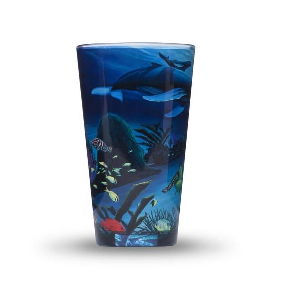 Wyland, Deep Blue Planet, Pint Glass, Turtles, Whales