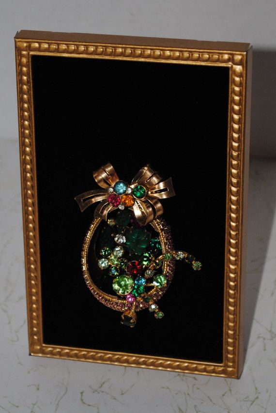 Vintage Framed Jewelry Art Basket Of Flowers | Marcos de madera ...