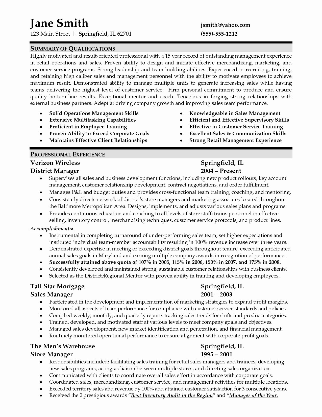 Resume Summary Examples for Retail Unique Sample Resume