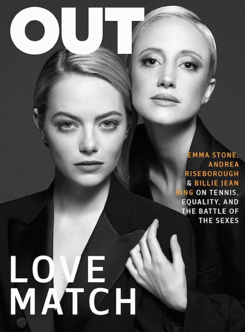 Emma Stone Andrea Riseborough Suit Up For Out Magazine Emma