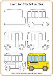 Learn to draw a school bus  Drawing  Pinterest  School buses