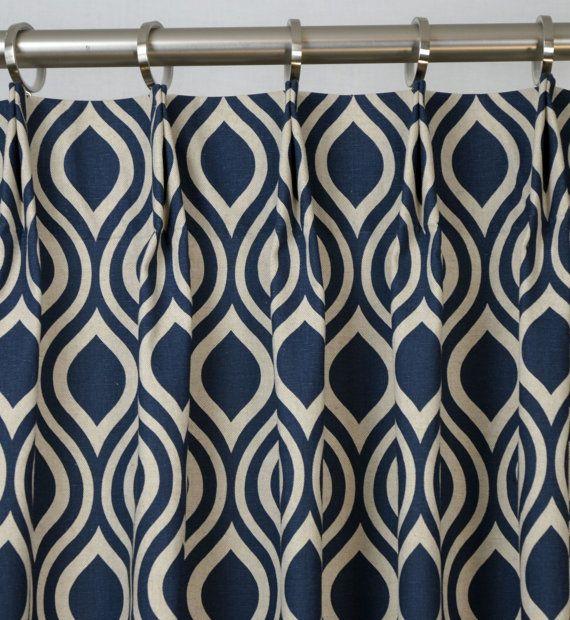Navy BlueIndigo Natural Light Beige Linen Nicole Trellis Curtains ...