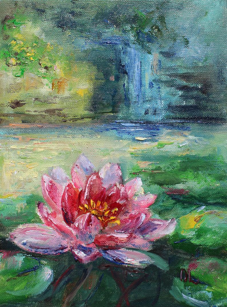 Water lilies oil painting original pink lotus pond wall art