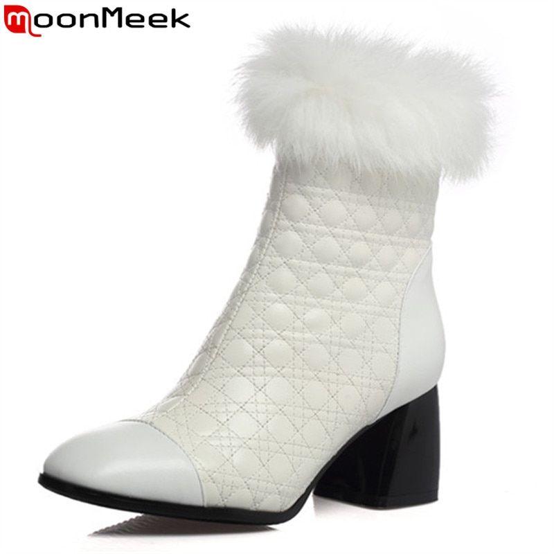 b45474e577 MoonMeek fashion women boots black white square toe zipper genuine ...