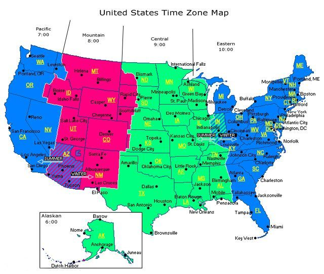 map of time zones in north america Truck drivers are on a first name ...